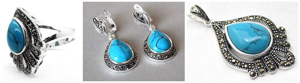 Vintage pierre bleue 925 bague en argent Sterling marcassite (#7-10) pendentif et boucles d'oreilles ensembles 08