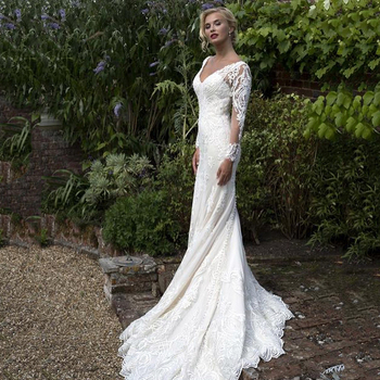 UZN White Mermaid Lace Wedding Gowns V-Neck Long Sleeves Bridal Gown Sexy Illision Beading Appliques Wedding Dresses ball gown wedding dresses 2020 sexy backless vintage long sleeves lace appliques flower dubai formal bridal wedding gowns
