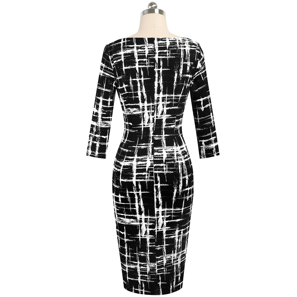 Image 2 - Nice forever Vintage houndstooth and Black Patchwork Round Neck Office vestidos Business Party Bodycon Women Female Dress B550Dresses   -