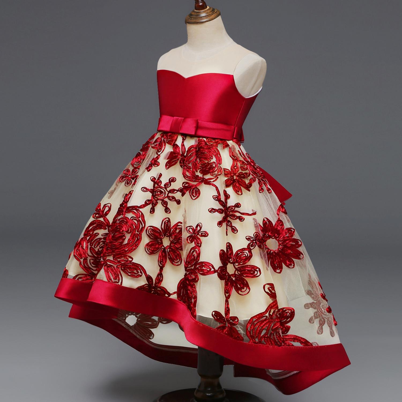 New Style Childrenswear Children Embroidery Gauze Bow Tutu Princess Dress Tailing Wedding Dress Skirt