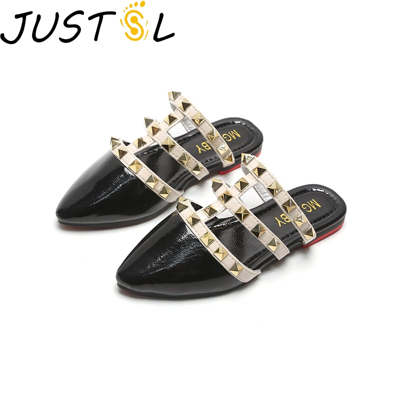 JUSTSL Children's Fashion Slippers Girls Spring Summer 2020 New Roman Shoes Kids Rivets Princess Shoes Size 26-35