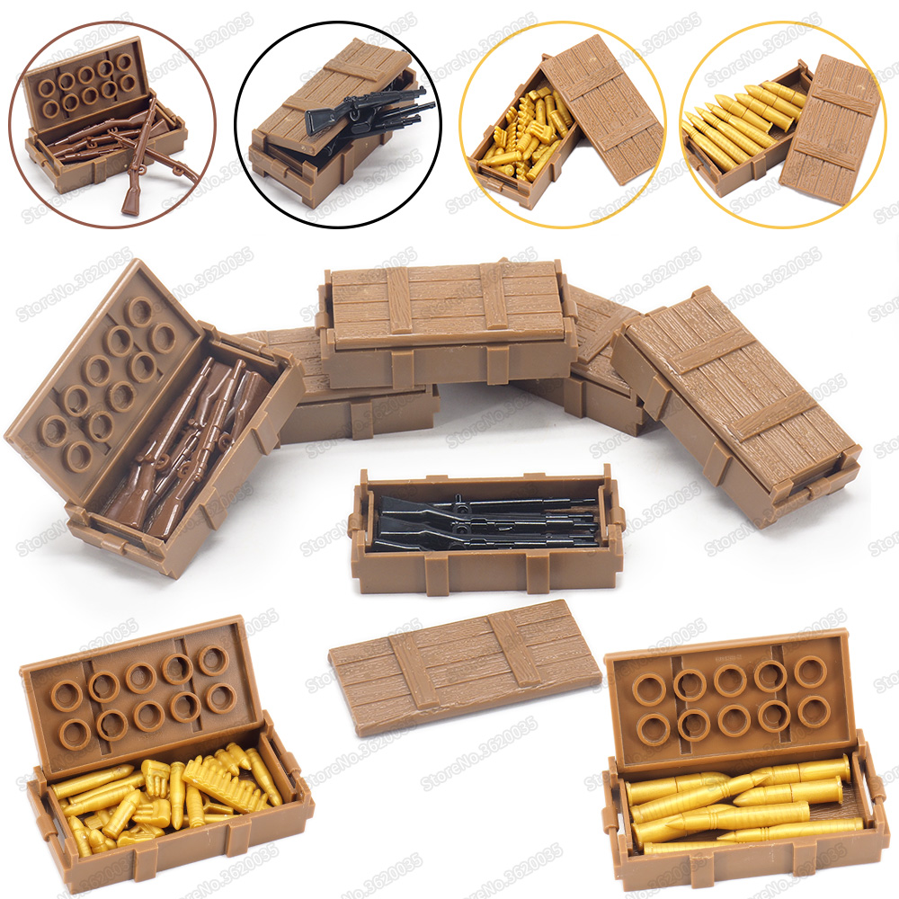 Battlefield Weapons Box Military Building Block WW2 Army Figures Soldier Special Equipment Boxes Model Child Gift Christmas Toys