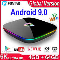 Q Plus Smart TV Box Android 9.0 TV Box 4GB di RAM 32 GB/64 GB di ROM Quad Core h.265 USB3.0 2.4G WiFi IPTV Set Top Box 4K PK H96/X96 MAX