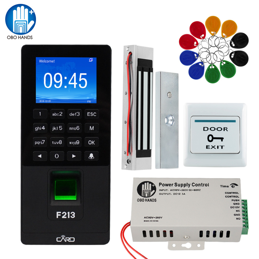 RFID Keypad TCP/IP/USB Fingerprint Door Access Control System Biometric Software DIY Electronic Magnetic Lock Strike Bolt Locks