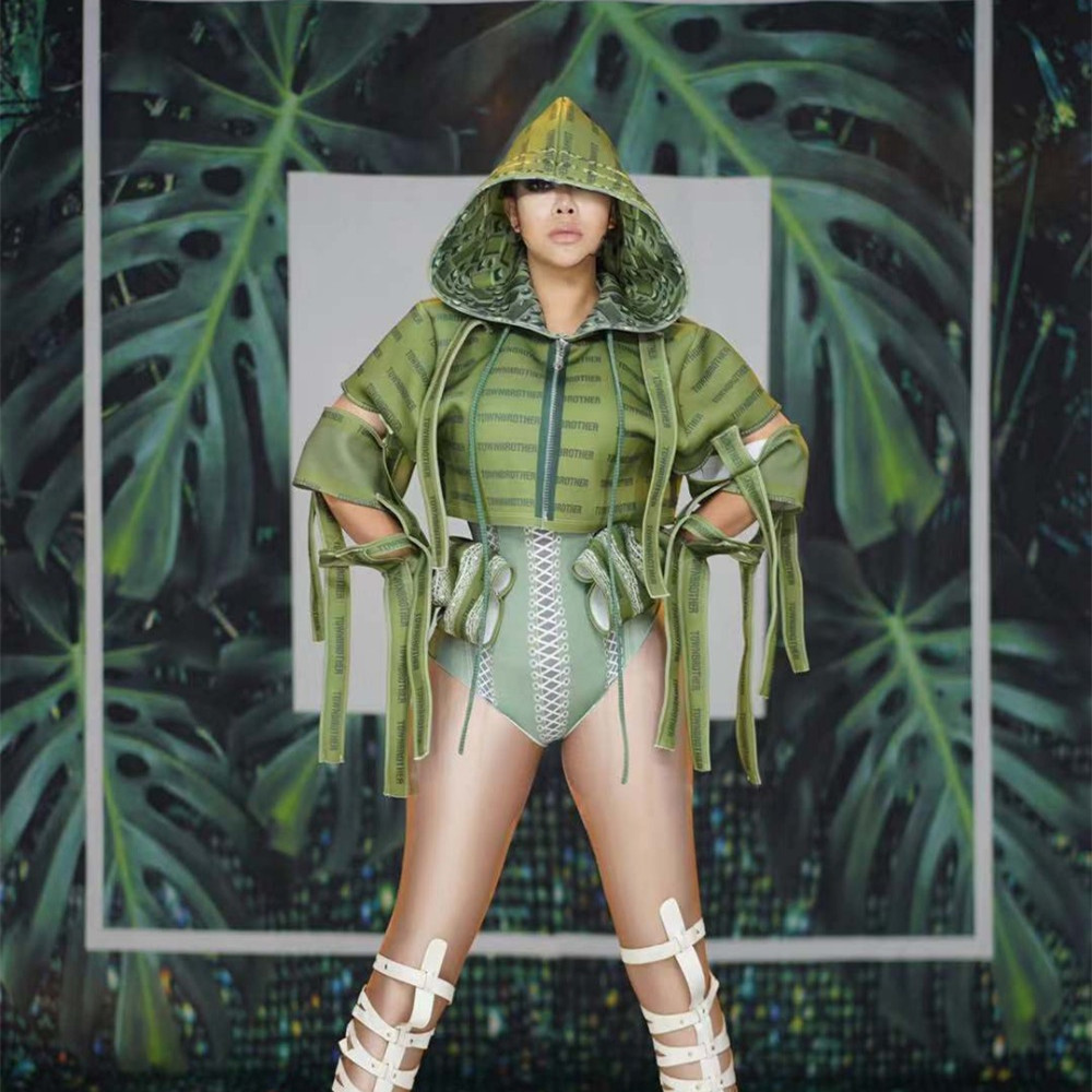 Nightclub Outfit Women Singer Dance Prom Bodysuit Set Sexy Green Military Uniform Costume Spandex Leotard Jacket