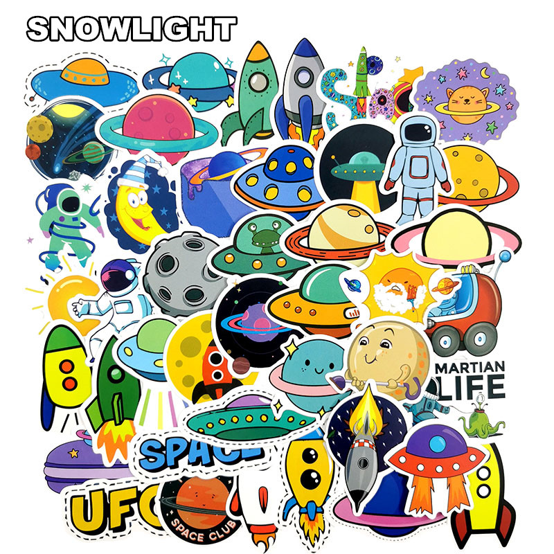 50PCS Alien Spaceship Cartoon <font><b>Ufo</b></font> Astronaut Waterproof <font><b>Sticker</b></font> Kids Toy <font><b>Sticker</b></font> For Skateboard Laptop Suit Scrapbook Gift image