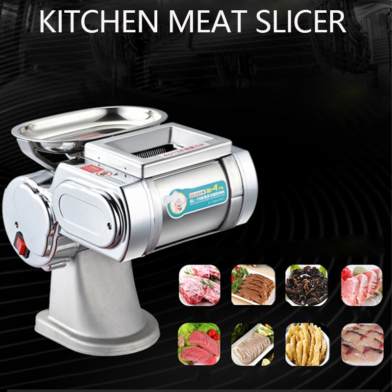 Stainless Steel Electric Slicer Cut Pork Home Cooked Food Machine Pig Liver Ground Meat Commercial Meat Slicer Meat Cutting Arti
