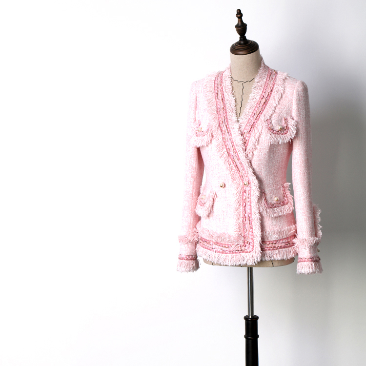 New Coats Jackets Beautiful WT8525012 V beauty cherry blossom pink small fragrant breeze short image
