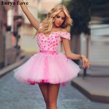 Homecoming-Gowns Prom-Dress Formal Off-Shoulder Tulle Party Pink Women Short