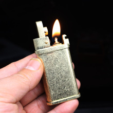 Brass Flint Free Fire Lighter Retro Torch Grinding Wheel Kerosene Gasoline Pipe Lighter Cigarette Oil Windproof Gadgets For Men zorr lighter gasoline lighter kerosene oil petrol lighter refillable cigarette metal retro men gadgets bar lighters