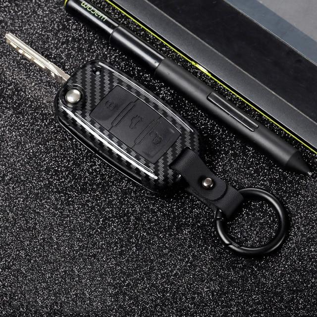 Couverture de boîtier de clé à distance de voiture de fibre de carbone dabs pour VW Golf Bora Jetta POLO GOLF Passat pour Skoda Octavia A5 Fabia pour SEAT Ibiza L
