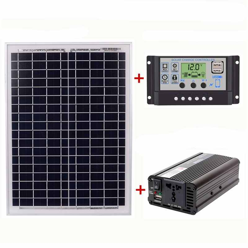 18V20W Solar Panel +12V / 24V Controller + 1500W Inverter Ac220V Kit, Suitable For Outdoor And Home Ac220V Solar Energy-Saving P