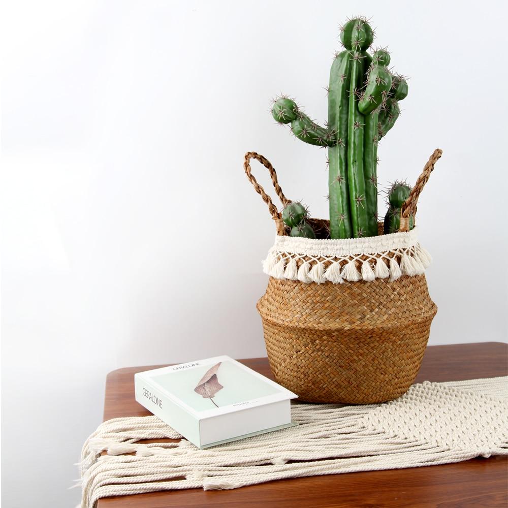 Folding  Eco-Friendly Plant Fibers Are Hand-woven Storage Christmas Laundry Basket