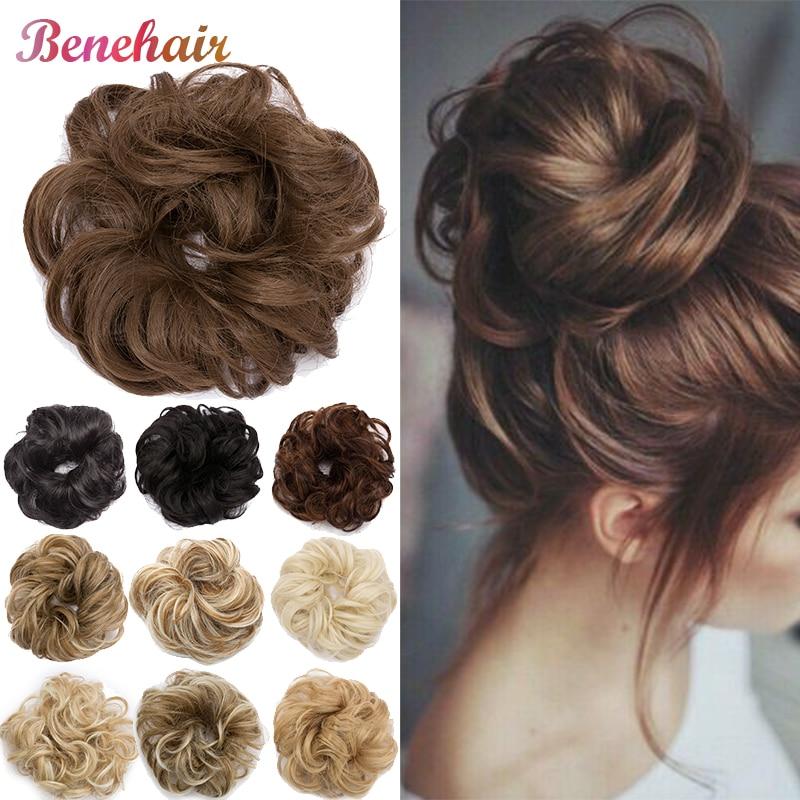 BENEHAIR грязный булочка резинки для волос, резинка для волос искусственные волосы синтетический Для женщин шиньон на голову эластичная повязк...