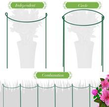 Garden Support Stake, 2-Pack Half Round Metal Garden Plant Supports, Garden Plant Support Ring, Border Support