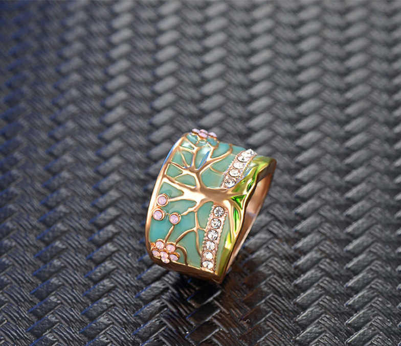 Hot Lucky Flower Tree Rings Fashion Gold Pink Opal Green Enamel Wide Ring for Woman Party Crystal Vintage Jewelry 2019 New