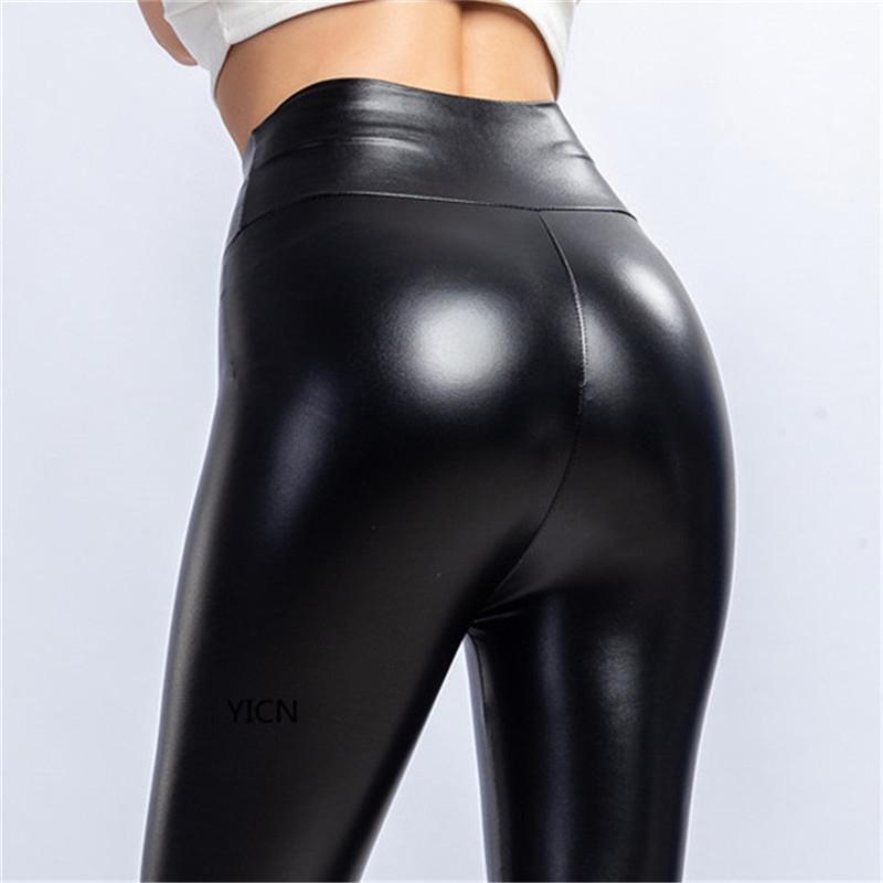 Plus Size L-XXXL Pencil  Pants Women Solid Color Black PU Leather Leggings High Elasticity Female High Waist Pants Spring Summer