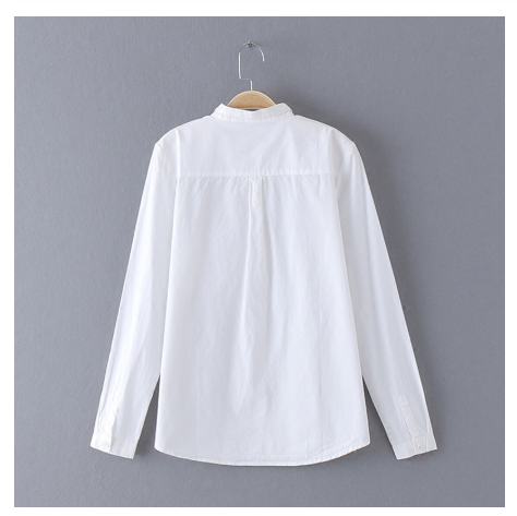 vzff 2019 White Blouse Womens Shirt Cotton Tops and Blouses Vintage Stand Collar Blusas Mujer De Moda Haut Femme