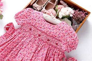Image 4 - Smocked ชุดสำหรับหญิง frock handmade ผ้าฝ้ายเสื้อผ้าเด็กชุดเด็กฤดูร้อนเย็บปักถักร้อยโรงเรียนวันหยุดบูติก
