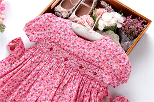 Image 4 - smocked dresses for girls frock handmade cotton baby clothes summer kids dress embroidery Party holiday school boutiques
