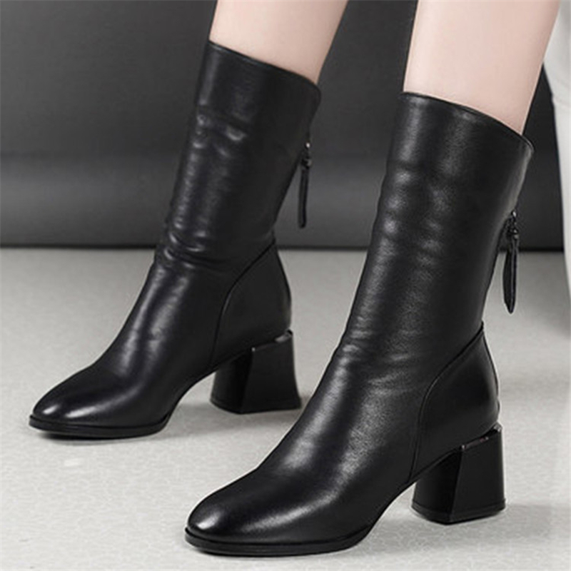 Купить ботильоны женские кожаные на высоком каблуке короткие плюшевые