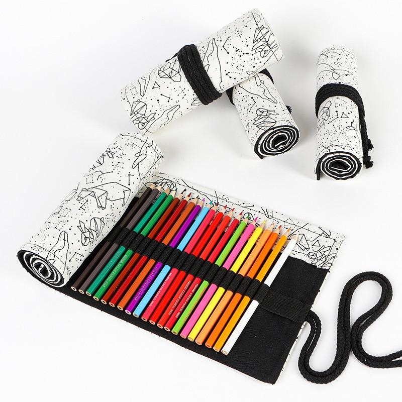 Constellation 36/48/72 Holes Canvas Roll Pen Curtain Pencil Bag Case Makeup Wrap Holder Storage Pouch School Supplies