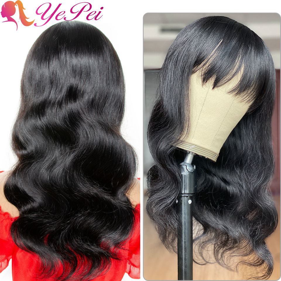 Long Human Hair Wigs With Bangs Brazilian Body Wave Wig Full Machine Made Wig With Bang 16-20 Inch 130% Density Remy Yepei Hair