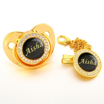 Personalized Name And Photo Bling Pacifier And Baby Pacifier Clip Luxury Baby Dummy BPA Free Baby Chupeta Lollipop Drop Shipping