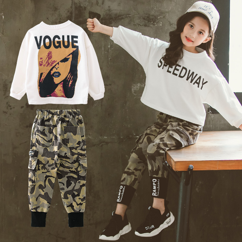 Осенний комплект одежды для девочек, коллекция 2019 года, осенняя Новая модная футболка с длинными рукавами + камуфляжные штаны Одежда для девочек Одежда для подростков возрастом от 10 до 12 лет|Комплекты одежды| | - AliExpress