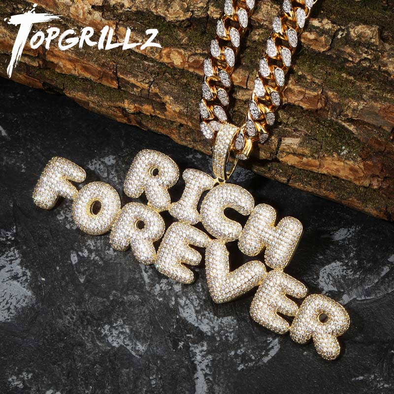 TOPGRILLZ Custom Name Bubble Letters Pendant Necklace Hip Hop Men's Personalized Jewelry Gold Silver Charm Chains Gifts