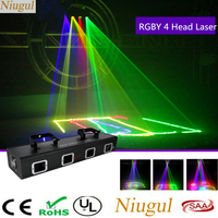 4 Heads RGBY Scan Laser Stage Light DMX512 Sound Actived DJ Disco Party Beam Effect Lights Red Green Blue Yellow Laser Scanner