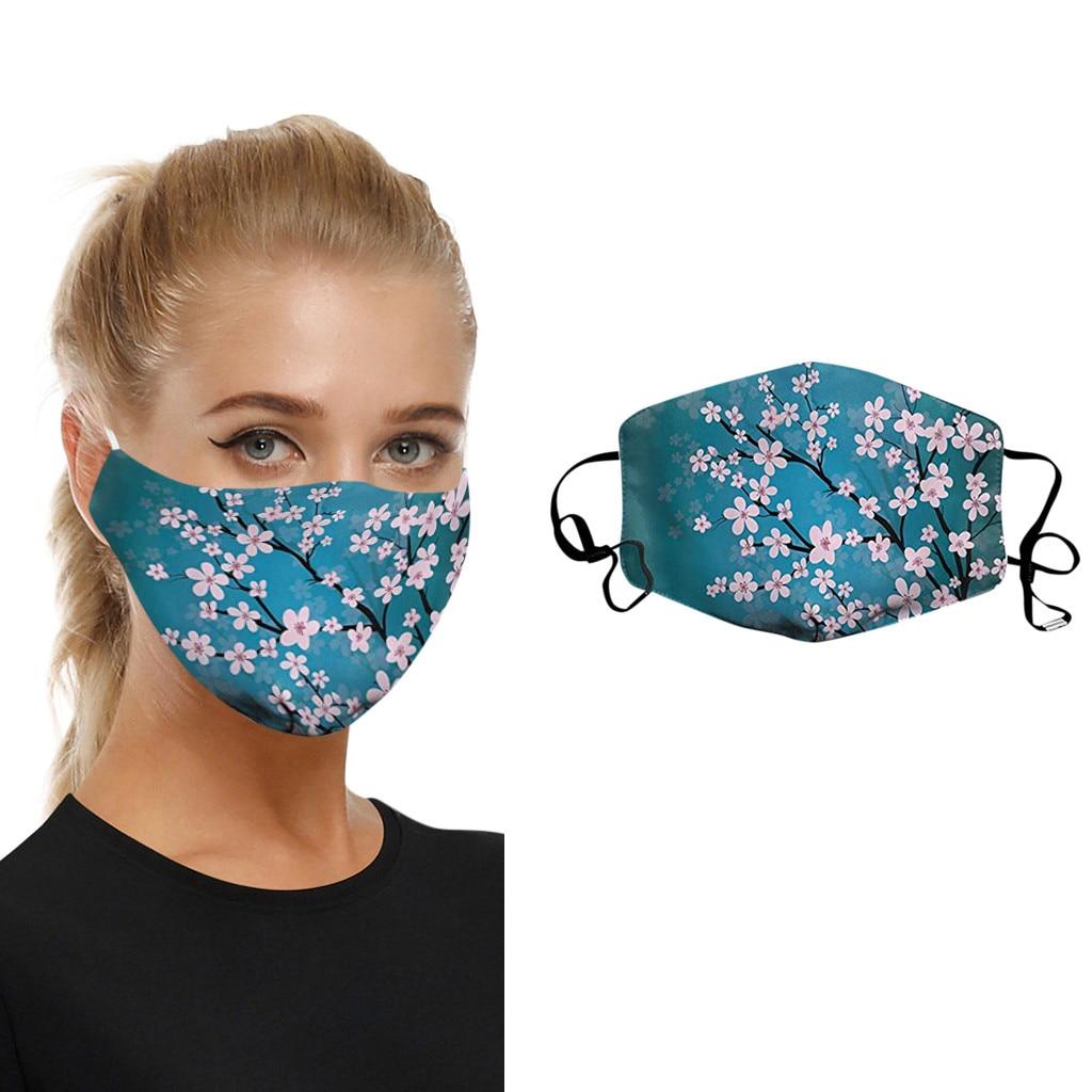 Flower Printed Face Maske Earloop Mouth Maske Adult Protective Dust Mouth Wen Women Washable Reusable Maske Cover Respirator