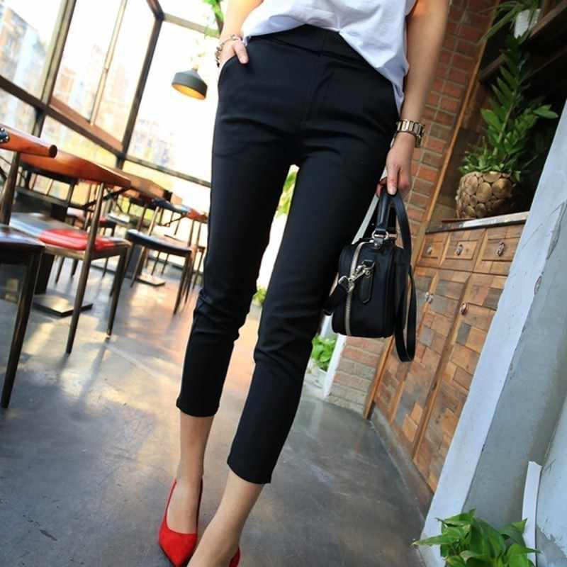 Gran oferta primavera verano Pantalones delgados hasta el tobillo para mujer pantalones ajustados de algodón elástico mezcla Oficina señoras Casual traje Pantalones