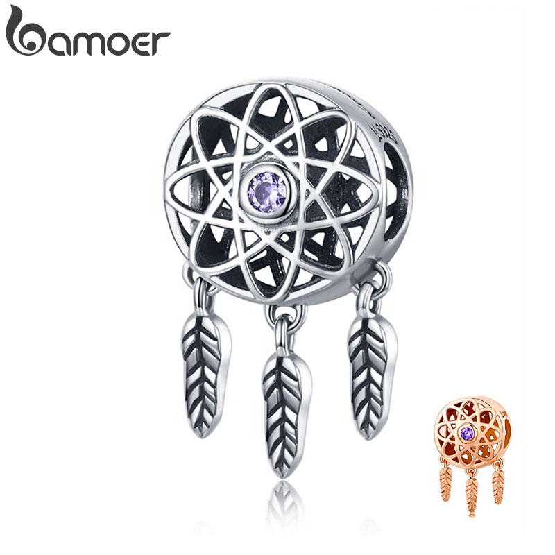 BAMOER Genuine 925 Sterling Silver Beautiful Dream Catcher Holder Beads fit Charm Bracelet Necklace DIY Jewelry Christmas SCC330(China)