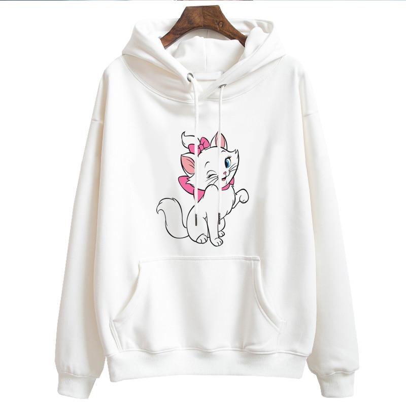 Women Hoodies Long Sleeves Cartoon Marie Cat Hooded Sweatshirts Casual Cute Cat Pattern Hoody Girl Sudadera Mujer Hoodie Gift