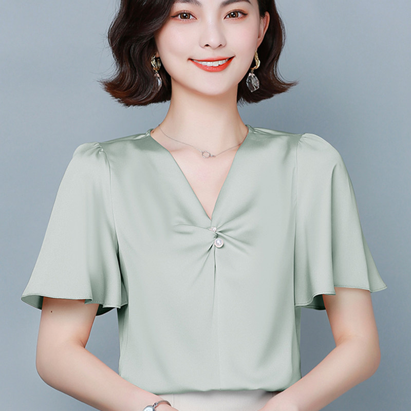 Korean Fashion Chiffon Women Blouses Shirt Women V-neck Lotus Leaf Satin Blouse Shirts Office Lady V Neck Blouses Tops Plus Size