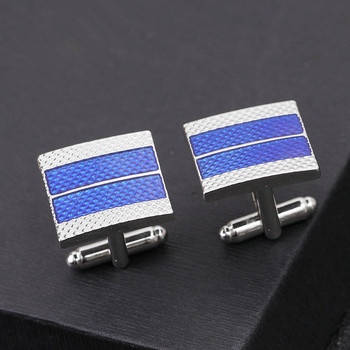 Men's Business  Geometric Square Blue Grid Tie Clips & Cufflinks  1