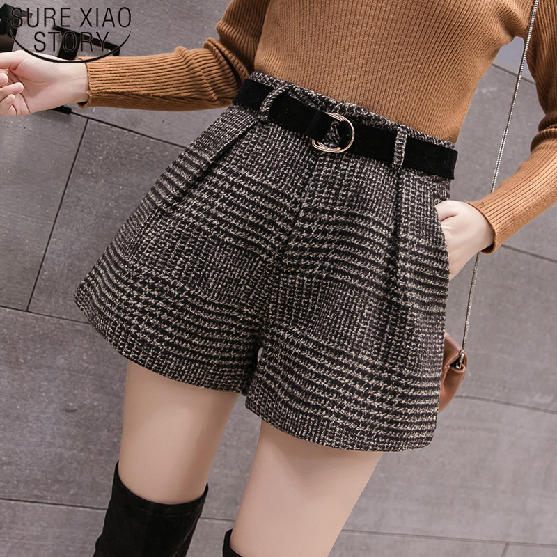 Casual Loose Boots Shorts Korean High Waist Plaid Wide Leg Shorts Femme  2019 New Spring Autumn Wool Shorts Women 6309 50