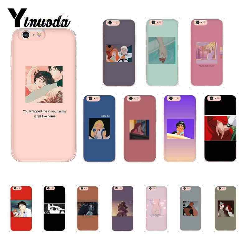 Yinuoda mode esthetische anime Smart Cover Black Soft Telefoon Case Voor iPhone 8 7 6 6S Plus X XS MAX 5 5S SE XR 11 11pro 11promax