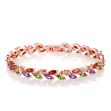 Colorful Zircon Bracelet 17CM Rose Gold Set AAA Fashion Perfect Female Jewelry Gift