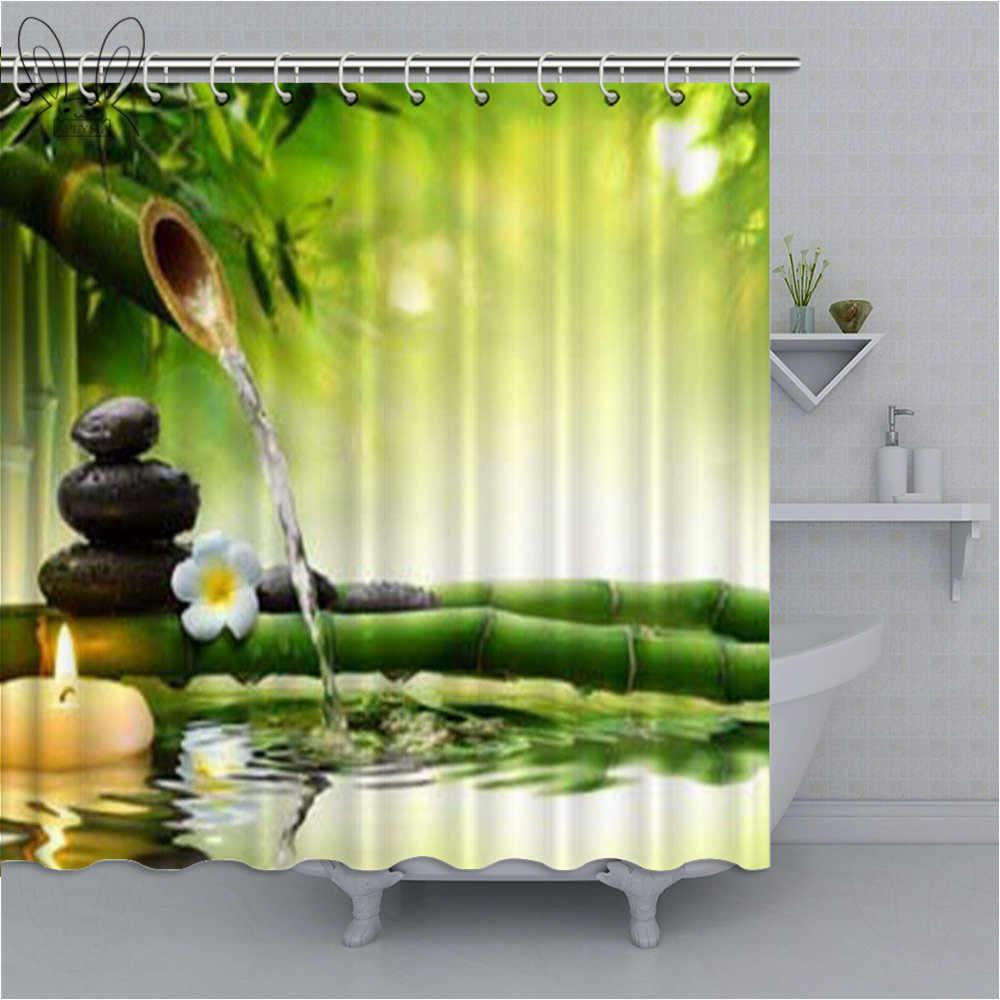 4Pcs Waterproof Bathroom Shower Curtain Scenery Fabric Bath Toilet Rug   z