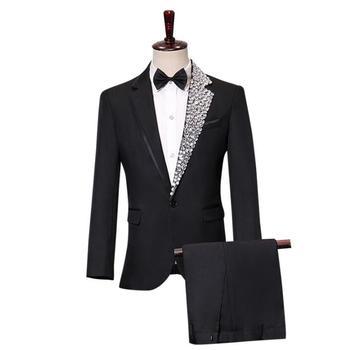 Diamond collar white blazer men groom suit set with pants mens wedding suits costume singer stage clothing formal dress b348