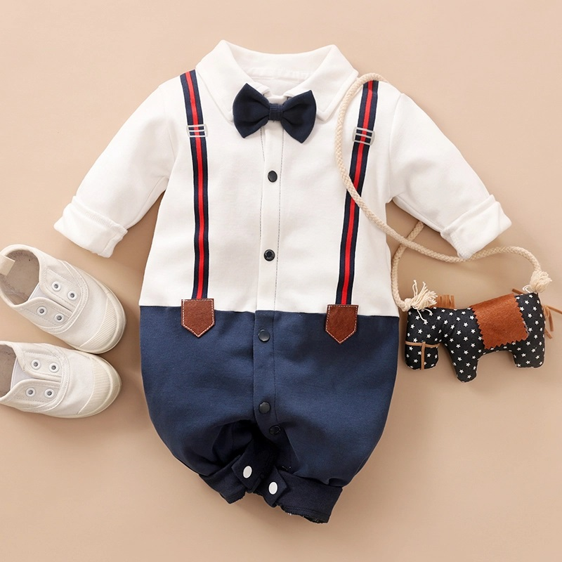 Spring And Autumn Cotton Casual Newborn Crawling Dress Baby Boy's Grace Imitation Long Sleeve Gentleman Small Bow Tie Jumpsuit