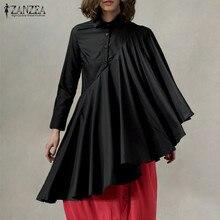 Fashion Pleated Shirts Women's Asymmetrical Blouse ZANZEA 2020 Spring Button Wor