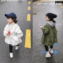 Осенний Тренч с длинными рукавами в Корейском стиле для маленьких девочек однотонное свободное повседневное пальто с поясом для детей от 2 до 6 лет Детские куртки