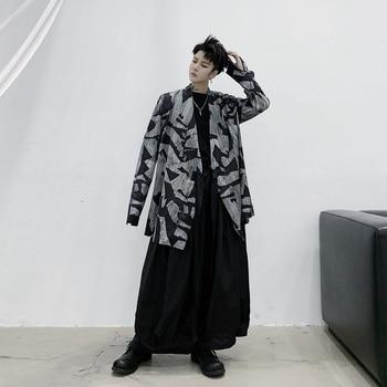 Men Japan Style Long Sleeve Casual Kimono Shirt Cardigan Coat Male Pattern Print Vintage Streetwear Shirt