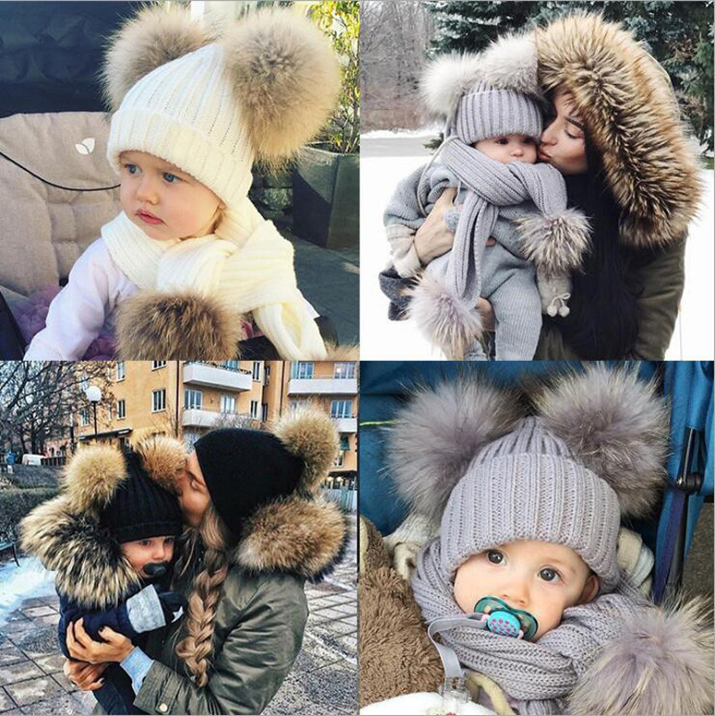 Newborn Baby Knit Hat+Scarf 2Pcs Children Baby Solid Color Scarves Winter Warm Baby Girl Hat For Baby Boy Suit Infant Unisex Set
