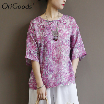 OriGoods Women Summer Blouse Flower Print Ramie Blouse Women Floral Printed Blouse Vintage Loose Casual Blouse Tops A447 фото
