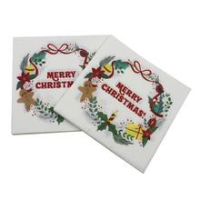 40 sztuk z nadrukiem świątecznym serwetki Cartoon wieniec tkanki papierowych do obiadu ręcznik zaopatrzenie firm tanie tanio AE (pochodzenie) Z tworzywa sztucznego