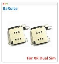 Baruile 5pcs sim cartão bandeja slot soquete para iphone xr interno micro leitor de cartão sim adaptador peças de reposição
